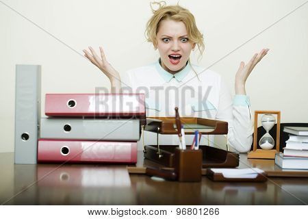 Crazy Woman At Office Table