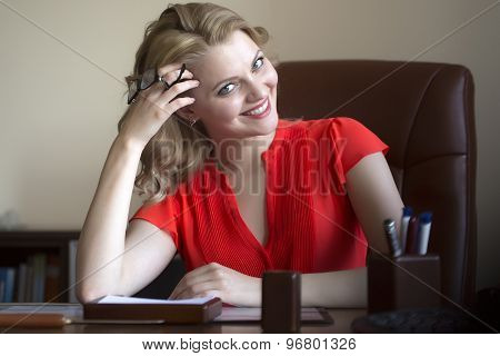Pretty Business Woman In Chair