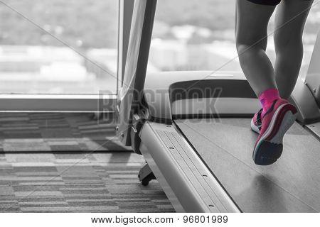 Unknown Woman Wear Pink Shoes Run On Treadmill Split Tone