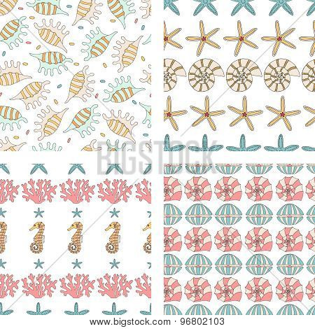 Four Vector Seamless Pattern Of Seashell,  Starfish,coral And Seahorses.