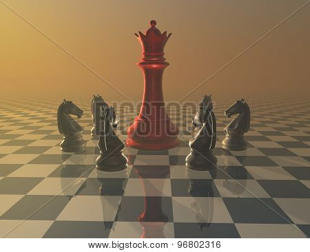 Defense, Attack, War And Fight Concept With Chess Pieces