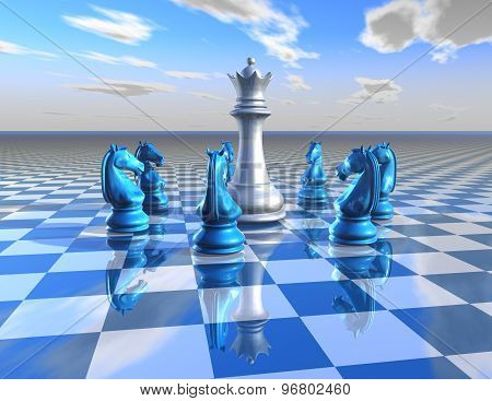Abstract Surreal Illustration With Chess Pieces