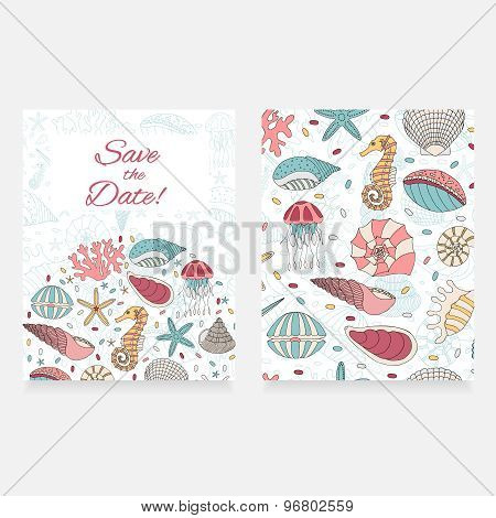 Vector Card Of Seashells, Starfish And Seahorses.