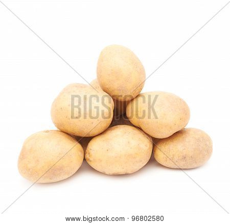 Pile of multiple potatoes isolated