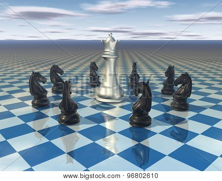 Abstract Surreal Illustration With Chess Pieces And Chess Board