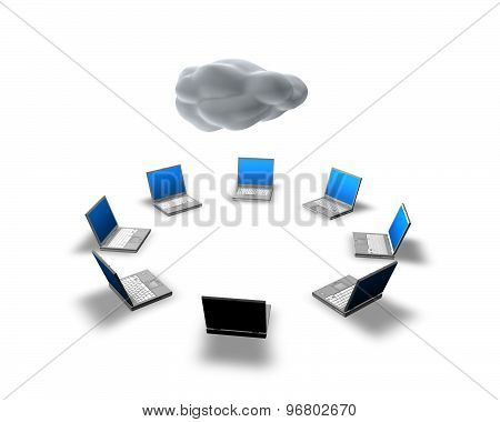 Cloud Computing, Computer Team Working Together Concept Idea