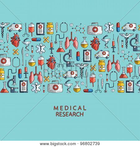 Medical research. Hand drawn health care and medicine icons.