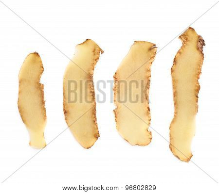 Multiple different potato peels isolated