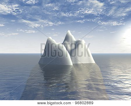 Iceberg 3D Illustration Background With Sea And Blue Sky Abstraction