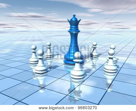 3D Abstract Dimensional Background With Chess Pieces Team And Blue Chess Queen, Strategy  Concept