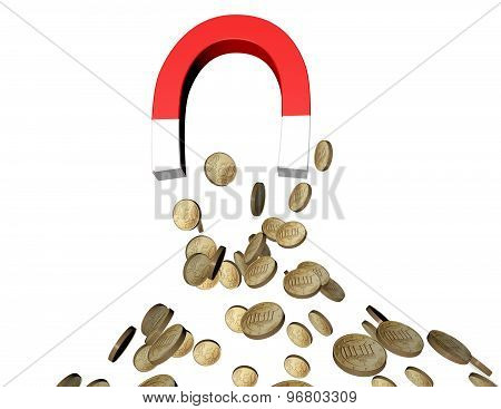 Attraction Abstract Concept With Coins And Magnet