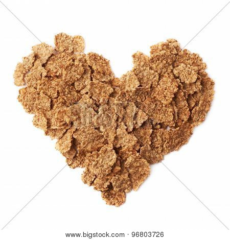 Heart shape made of cereal flakes