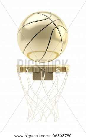 Golden basketball ball over hoop isolated