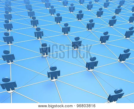 3D Abstract Blue Background, Network Concept