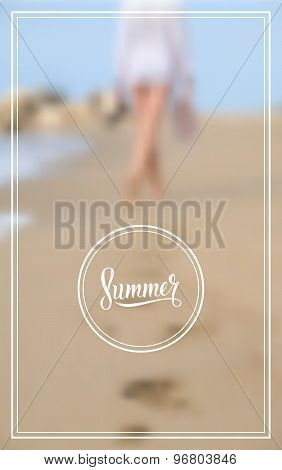Woman walking on sand beach leaving footprints in the sand. Summer logo.