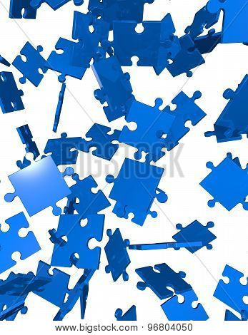 Vertical Background With  Falling Puzzles Pieces