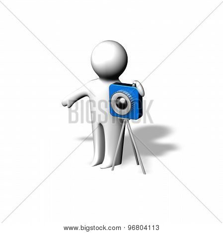 Photograph And Making Photos Abstract Concept With 3D Cartoon Character