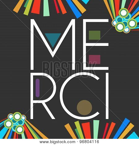 Merci Text Dark Colorful Elements