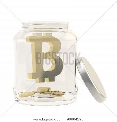 Bitcoin currency sign in a glass jar