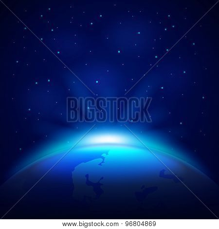 Planet Earth In Space Vector Background