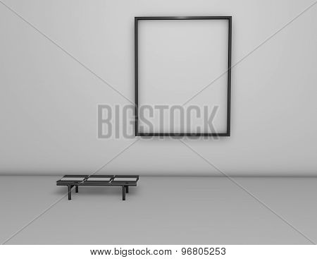Empty Light Room With Blank Picture Frame