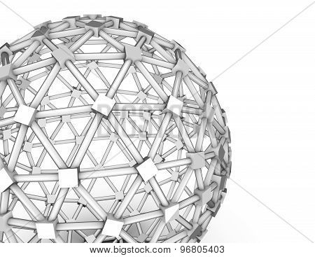 Simple Abstract Technology Background With 3D Shape Isolated