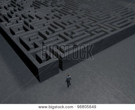 Problem In Life Abstract Concept 3D Illustration With Labyrinth