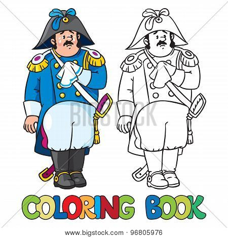 Sad general or officer. Coloring book