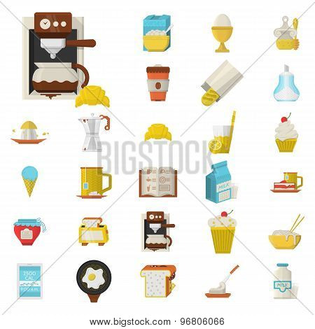 Breakfast flat color vector icons set