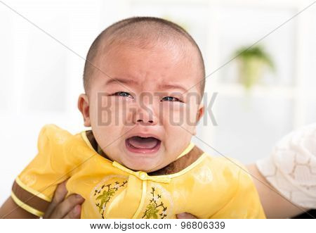 Closeup Crying Asian Baby Boy