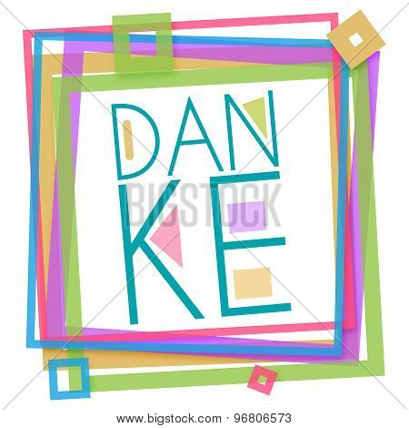 Danke Text Colorful Frame