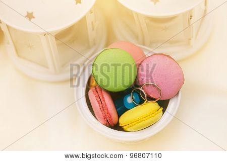 Wedding Rings On Macaroons Variety