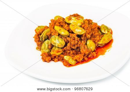 Sambal tumis petai, a popular traditional dish in Malaysia and Indonesia