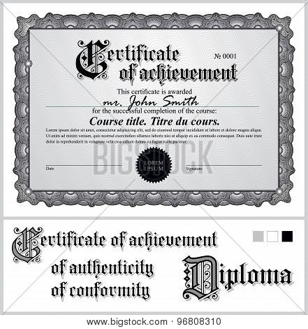 Black and white certificate. Template. Horizontal.