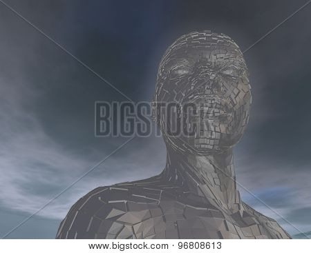 3D Futuristic Android Woman With Blue Sky Background