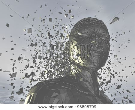 Anger Concept With 3D Person Shattered Into Pieces