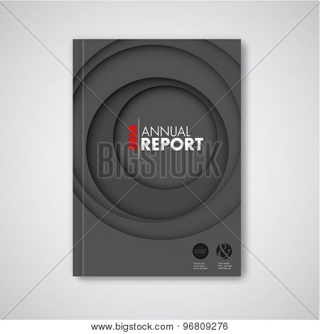 Modern dark Vector abstract brochure / book / flyer design template with circles