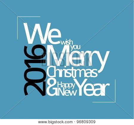 Abstract vector typography Christmas card - season words, blue version
