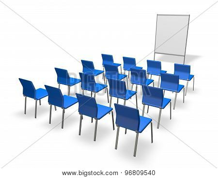 Conference Indoor Wih Empty Blue Chairs And Board