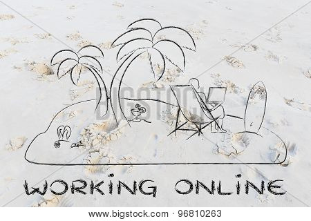 Working Online: Man With His Laptop Remotely Connected From A Desert Island