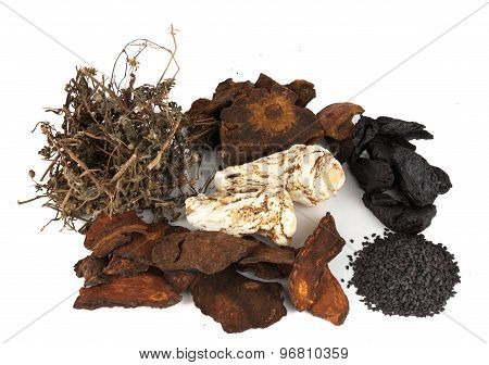 A group of Chinese dried herbs beneficial for hair growth