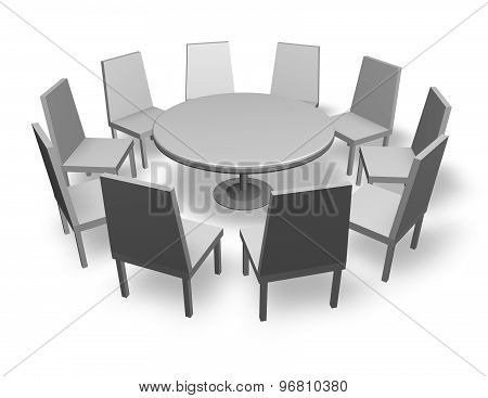 Meeting Concept Illustration With Chairs And Round Table Isolated