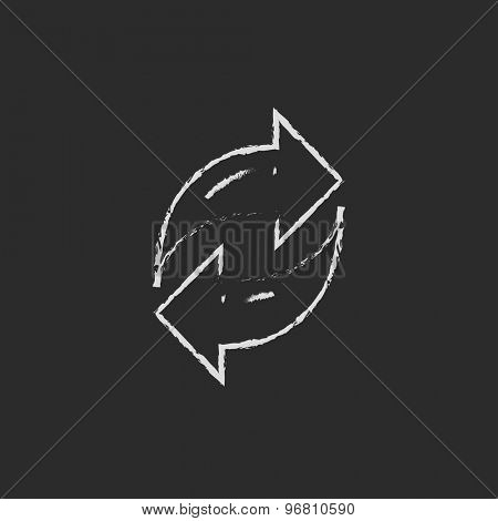Arrows with left and right direction hand drawn in chalk on a blackboard vector white icon on a black background