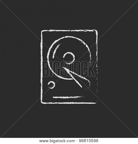 Hard disk hand drawn in chalk on a blackboard vector white icon on a black background