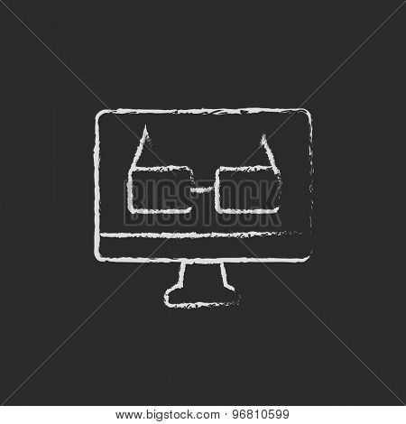 Glasses in screen monitor hand drawn in chalk on a blackboard vector white icon on a black background