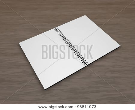 Blank Open Notepad With Spiral On Wood Table