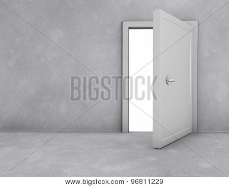 Open Doors Simple Scene With Copy Space, Freedom And Opportunity Concept