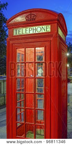Red Telephone Booth At Night,