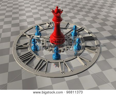 Time Concept With Chess And Abstract Clock