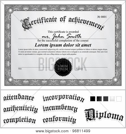 Vector illustration of black and white certificate. Template. Horizontal. Additional design elements